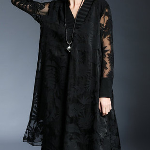 Embroidery V-neck Loose Lace Dresses -US$89.08