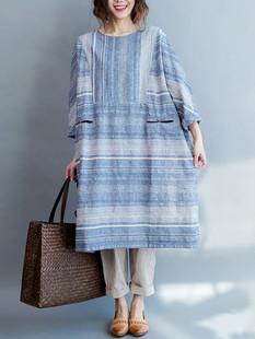 Patchwork Stripe Vintage Dress -US$39.99