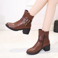 -Plush Lining Chunky Heel Zipper Boots-RM121.