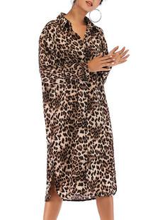 Leopard Button Down Shirt Dress -US$32.00