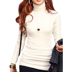Solid Color High-neck Bottoming Slim Blouse-RM71.16