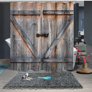 Retro Wood Plank Wood Door Shower Curtain -US$19.99