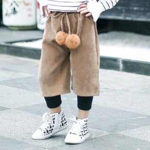 Thicken Girls Wide Leg Pants For 2Y-9Y -US$20.99