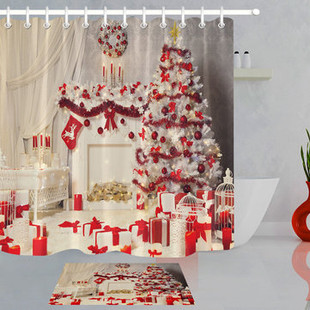 180x180cm Red Christmas Tree Curtain -US$16.80