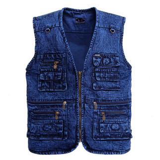Mens Denim Functional Pockets Vest-US$20.99