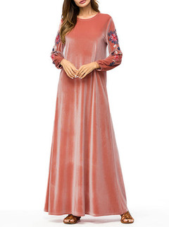 Embroidery Long Sleeve Maxi Dress -US$56.00