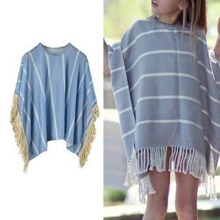 Striped Girls Tassels Irregular Cloak For 2-9Y -US$18.99
