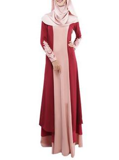 Lace-paneled Long Sleeved Muslim Maxi Dress -US$37.95