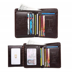 Men Genuine Leather Multi-function 10 Card Slots Wallet  RM105.37
