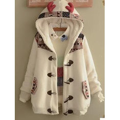 Deer Printed Thick Horn Buckle Antler Coat-RM193.3