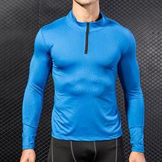 Men Thick Velvet Long Sleeve 1/2 Zip Sport T-shirt Tops