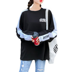 Letters Printed O-Neck Long Sleeve Loose Shirt-RM81.64