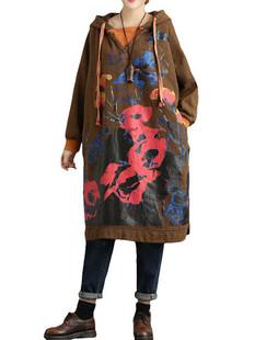 Printed Thickening Hooded Sweatshirt Dress -US$57.40