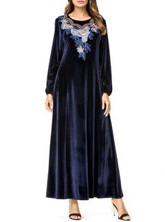 Muslim Print Long Sleeve Long Dress -US$46.80