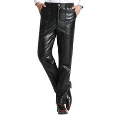 PU Leather Fleece Lining Casual Motorized pants-US$27.66