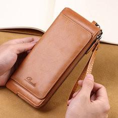 Men Genuine Leather Multi-function Wallet Card Holder