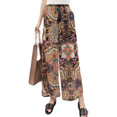 Printed Loose Chiffon Wide Leg Pants-RM94.51
