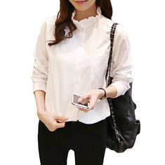Ruffles Neck Solid Color Long Sleeve Shirt-RM54.57