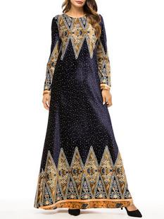Vintage Musilm Crew Neck Print Dress -US$48.00