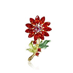 Sweet Colorful Crystal Flower Brooches-US$7.91