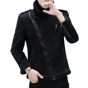 PU Leather Fleece Lined Diagonal zipper Shea-US$72.88