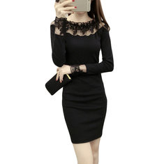 Lace Stitching Long Sleeve Bodycon Dress-RM101.62