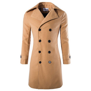 RM135.25-Mens Winter Double-breasted Slim Fit Trench Coat