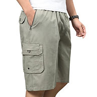 Mens Clothing Multi-pocket Cargo Shorts Elastic Waist Solid Color Loose Fit Casual Cotton Work Shorts -RM70.45
