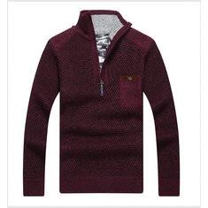Men's Casual Patchwork Half-Zipper Collar Knit Sweater-US$33.75