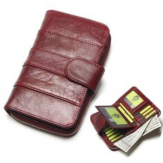 Trifold Women Vintage Genuine Leather 15 Card Slot Wallet-RM126.00
