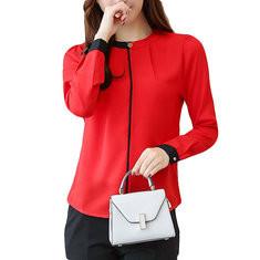 Chiffon Long Sleeve Plus Size Office Lady Shirt-RM96.25