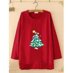 Christmas Tree Print Sweatshirt-RM98.64