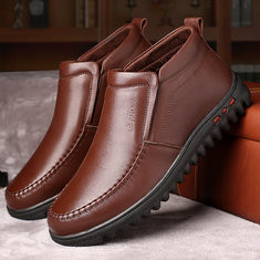 Men Warm Plush Lining Leather Ankle Boots-RM156.00