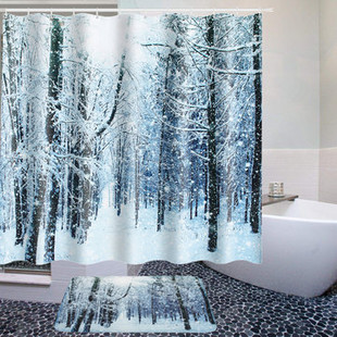 Christmas Winter Tree Forest Shower Curtain -US$15.80