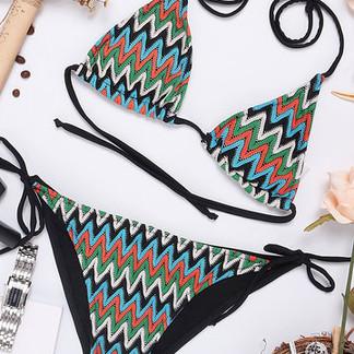 Printed Backless String Triangle Bikini Swimwear For Women -US$25.00