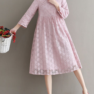 Vintage Stand Collar Long Sleeve Lace Dresses -US$27.29