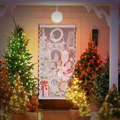 """40""""x84"""" Christmas White Santa Claus Lace Window Curtain""-RM12.65"