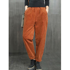Solid Color Casual Corduroy Pants-RM214.76