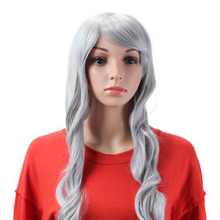 Grey Full Cosplay Wigs Costume Womens Lon -US$25.77