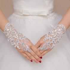 Bride Bow Tie Fingerless Gloves-RM30.38