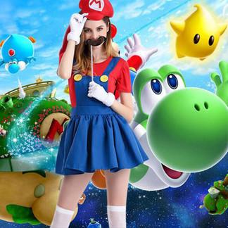 Halloween Mario Anime Game Cosplay Skirt Costumes For Women -US$24.22