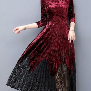 Elegant Lace Patchwork Velvet Dresses -US$33.65