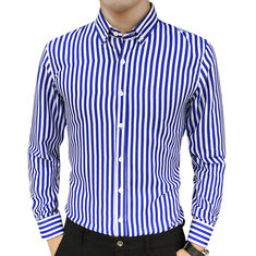 Vertical Striped Slim Long Sleeve Shirt-US$16.99