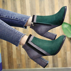 Splicing Mixed Color Suede Block Heel Boots-RM130.33
