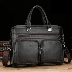 Men Faux Leather Business Briefcase Shoulder Laptop Bag-US$46.93