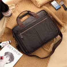 Men Genuine Leather Business Briefcase Laptop Bag Tote Bag