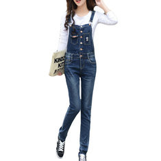 Stretch Slim Casual Denim Jumpsuits-RM133.14