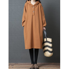Solid Color Hooded Casual Dress-RM184.72