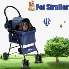 Luxury Foldable Blue Awning Pet Stroller-US$145.25