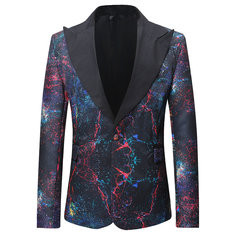 Mens Print Lapel Collar Long Sleeve Suit -US$39.78